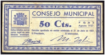 Billete de Fonz de 50Cts.